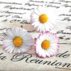 """Serviette en papier motifs : """"La Réunion"""" Pâquerette Marguerite fleur (vendue à l'unité)"""