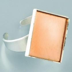 Bague avec Platine en Cuivre Carrée - Argenté -Création de Bijoux