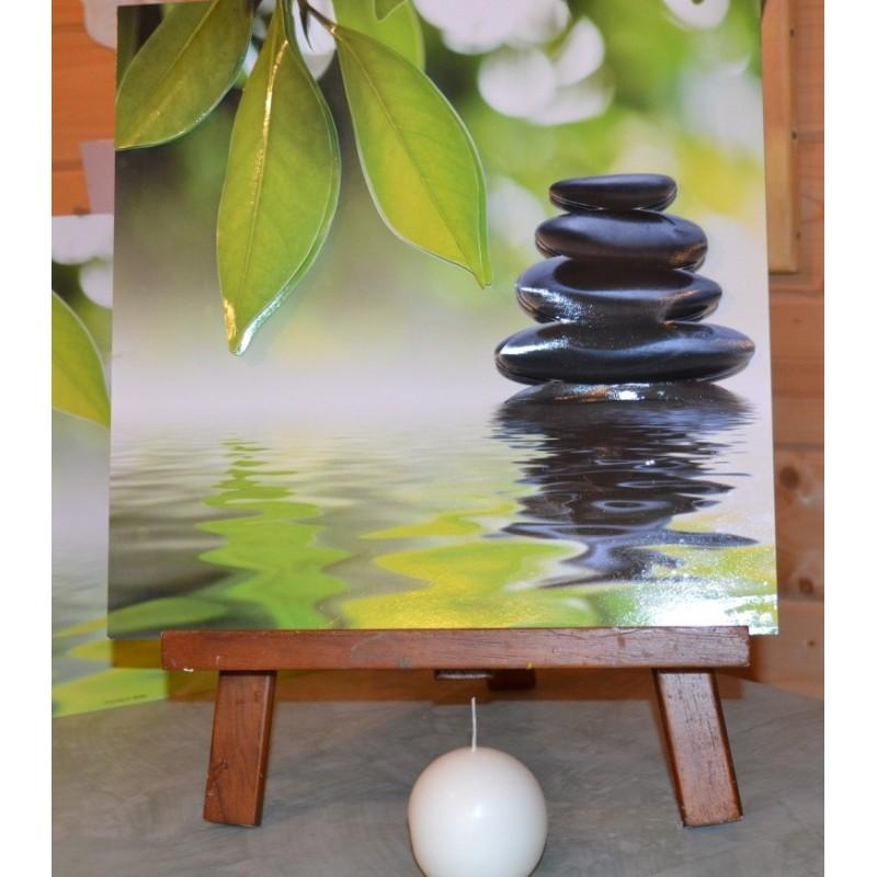 """Image 3 D Esprit ZEN Image 3D brillante 30x30cm  """"Pierre Zen sur l'eau"""" Tableau à réaliser avec Technique 3 D"""