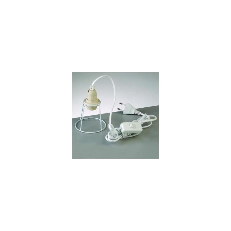 Câble électrique avec ossature abat-jour + interrupteur (Blanc)