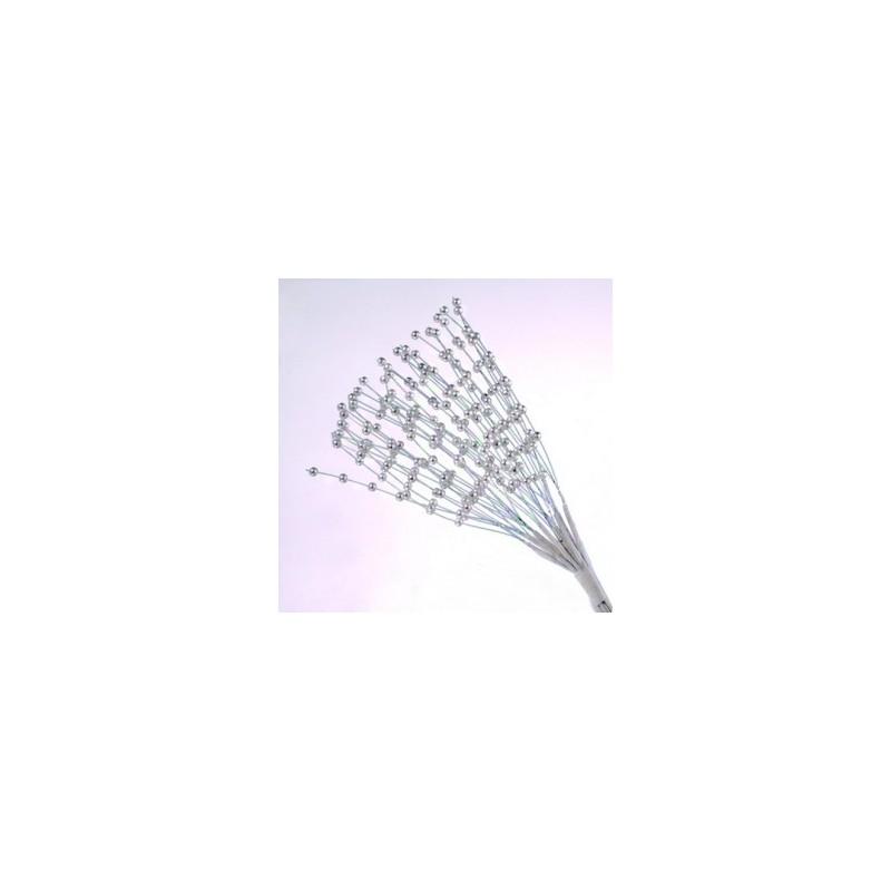Panicules Perlées blanches, imitation pistils, Décoration Embellissement (12 tiges,  18 cm)