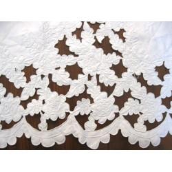 """Coupon tissu coton blanc cassé Dentelle Vague rose rétro blanc  (vendu au mètre- largeur 1M) - Sélection """"Dans mon Grenier.."""""""