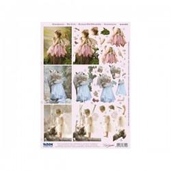 """Planche Carte 3D Prédécoupée Image 3 D """"fillettes romantiques"""" (pour création 3 cartes)"""
