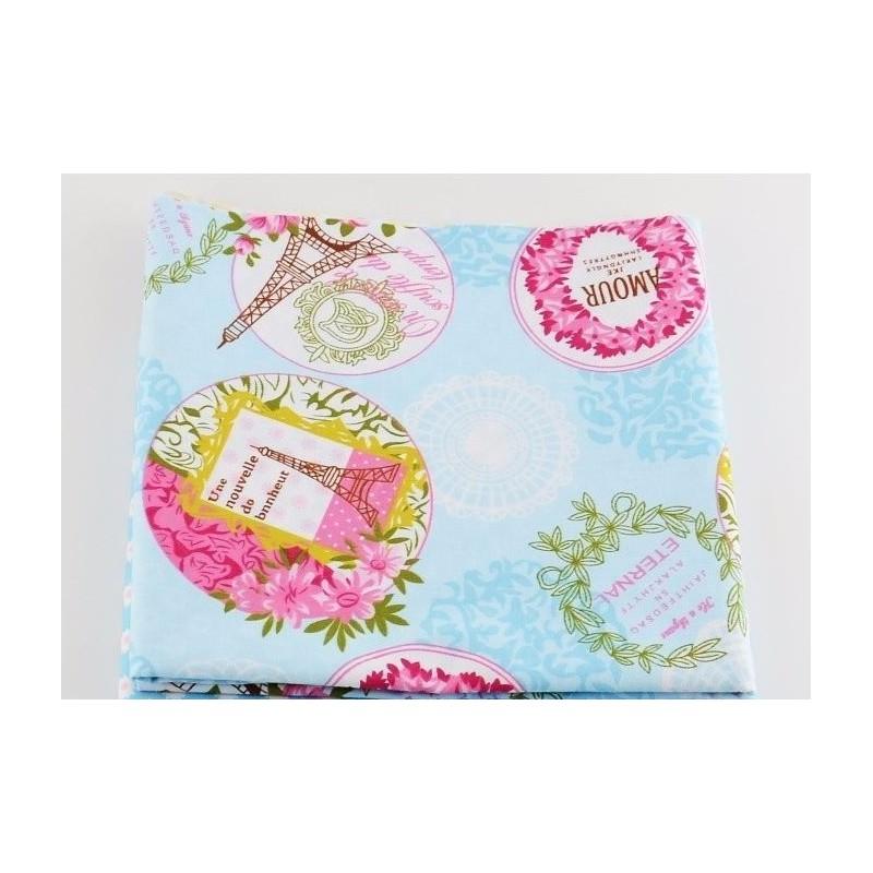 """Coupon Tissu imprimé """"Paris"""" fond Bleu, motifs coloris Rose  40 x 50 cm"""