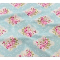 """Coupon Tissu 100 % coton imprimé style """"Shabby """" Fond bleu 40 x 50 cm"""