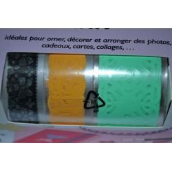 """Ruban Adhésif Masking Tape Fabric tape Dentelles de Papier plastifié """"Fleurs"""" Vintage (Set 3 rubans PAPIER)"""