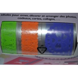 """Ruban  adhésif Masking Tape - Fabric tape Dentelles de Papier plastifié - """"Papillons"""" Vintage  (Set 3 rubans PAPIER)"""