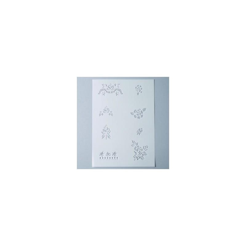 Pochoir Mini Motifs 8 Roses  miniatures,  planche format A 5