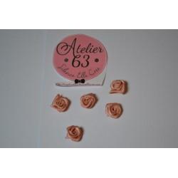 """Fleur Bouton de Rose Mini Embellissement Satin """"Rose Poudré"""" 1 cm (sachet de 5) pour  Mariage , Couture"""""""