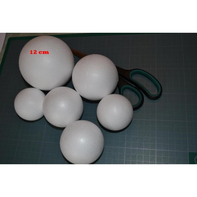 Boule polystyrène  (frigolite), légère et polyvalente (12 cm) vendue à l'unité
