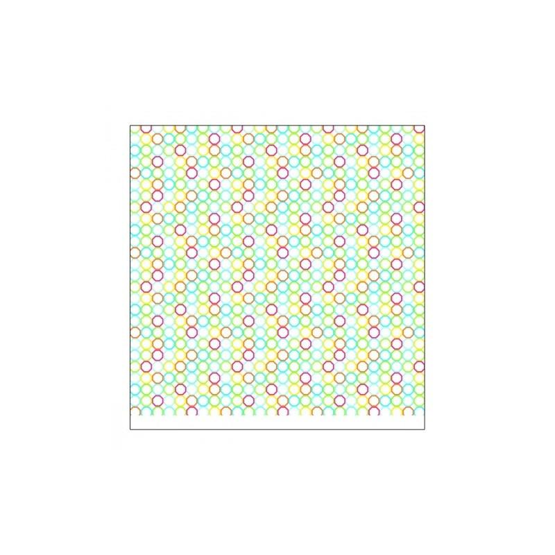 """Papier SCRAP à Motifs 2 faces (Cercles de couleurs & Tracés Jaunes)   Fond blanc """" Amazi"""""""