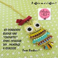 """Kit de Montage Bijoux  pour Création """"Pendentif CHOUETTE Articulé DORE"""""""