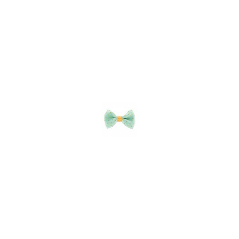 Noeud en polyester Bleu Azur Pois Jaunes avec ruban en satin partie centrale (44 mm) Vendu à l'unité