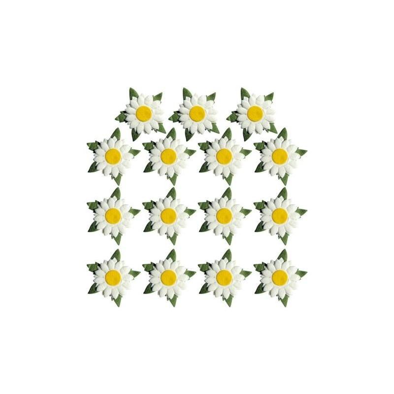Fleurs en papier, Maguerites, Embellissement (sachet de 15 fleurs)