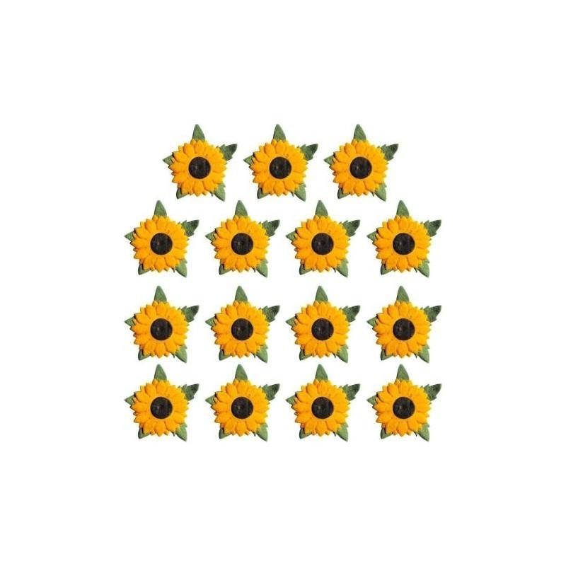 Fleurs en papier, Tournesols, Embellissement (sachet de 15 fleurs)