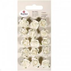 Fleurs en papier, Roses Blanches, Embellissement  15 mm (sachet de 15 fleurs)