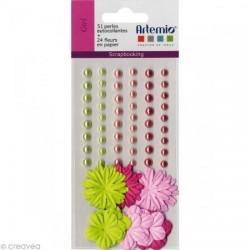 """Fleurs en papier & Perles autocollantes """"Girls"""", Embellissement  15 mm (sachet de 75 Pièces)"""