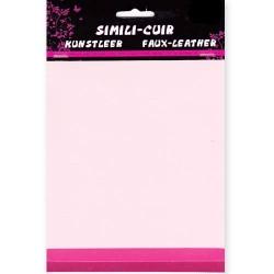 Feuille Simili Cuir ROSE (3 feuilles dégradé de couleur : Rose Layette/Rose Foncé/Fushia)