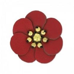 Fleur Artisanale en simili cuir Rouge 100 % fait main  (Vendue à l'unité) (3 cm environ)