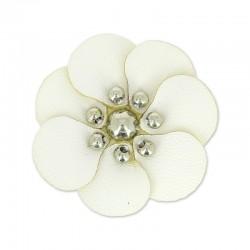 Fleur Artisanale en simili cuir BLANC 100 % fait main  (Vendue à l'unité) (3 cm environ)