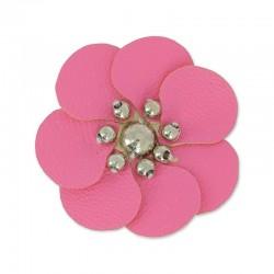Fleur Artisanale en simili cuir ROSE 100 % fait main  (Vendue à l'unité) (3 cm environ)