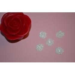 """Fleurs mini en Dentelle Vintage (1.5 cm) """"Les Fleurs de LOUISE"""" (Blanc) pour couture & décoration (vendu par 5)"""