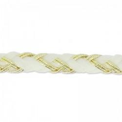 Fil Cordon tressé Coton (Lurex) Blanc Doré 3.5 mm - Vendu au mètre