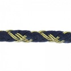 Fil Cordon tressé Coton (Lurex) Bleu Marine Doré 3.5 mm - Vendu au mètre