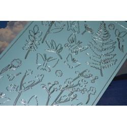 Planche stickers papillons et végétaux fond bleu ciel pour Carterie & Embellissements Destockage - 20 %