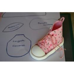 Kit converse mousse porte-clé petites fleurs s/fond rose