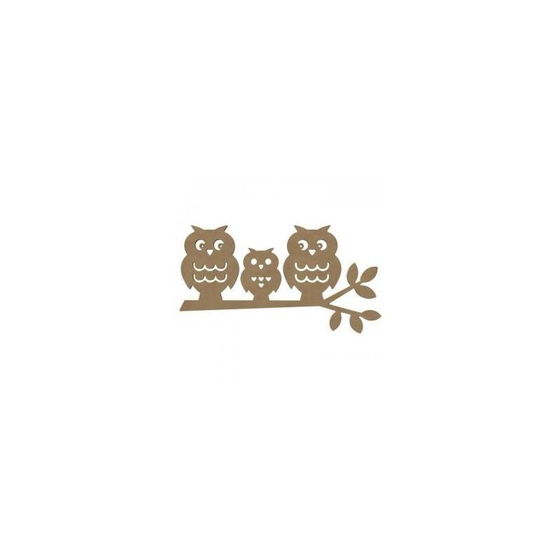 """Support à décorer """"3Chouettes sur une Branche""""  L 58 CM X H 30 CM"""