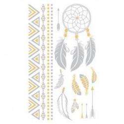 Planche Tatoo Chic Décoration de Peau L'Attrape Rêves Or & Argent  Loisirs  Beauté Tatouages Ephémères