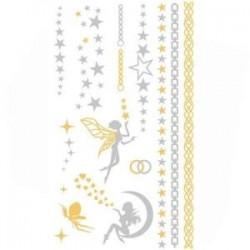 Planche Tatoo Chic Décoration de Peau Papillons Libellules Or & Argent  Loisirs  Beauté Tatouages Ephémères