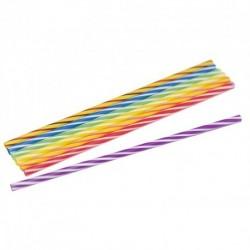 Pailles droites Berlingot (long 21 cm, diam 5 mm) couleurs assorties (lot de 40)