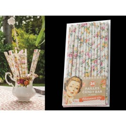 Pailles droites style Shabby Chic petites fleurs en papier cartonné (lot 24)