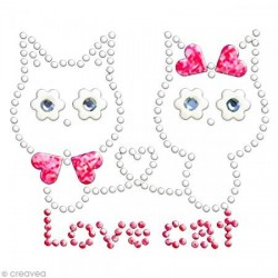 "Motif thermocollant  Permanent Strass à appliquer ""LOVE CATS"" -  (7,6 x 6,4 cm)"