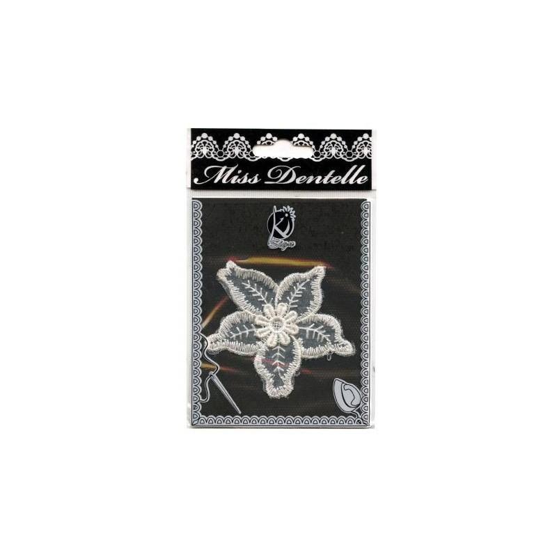 """Motif thermocollant Dentelle Blanche à appliquer """"Edelweiss"""" -  (7 x 7,8 cm)"""