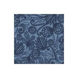 Coupon Tissu imprimé Floral Fond bleu clair 70 x 50 cm (vendu à l'unité)