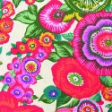 Tissu Coton imprimé Fleurs Fushia Le Botanic   fond Blanc,  50 x 60 cm (vendu à l'unité)