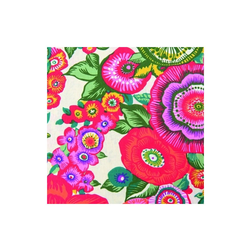 Tissu Coton imprimé Fleurs Fushia Le Botanic   fond Blanc,  50 x 60 cm (vendu à l'unité) Déstockage - 10 %