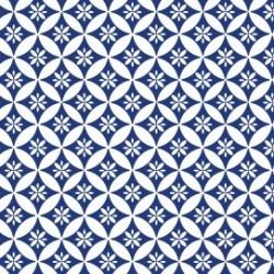 """Coupon Tissu imprimé esprit Vintage """"Tomettes"""" (Blanc & Bleu)  70 x 50 cm (vendu à l'unité)"""
