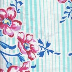 Coupon Tissu Patchwork imprimé grandes fleurs roses fond rayé blanc et turquoise (110 cm vendu par 10cm)