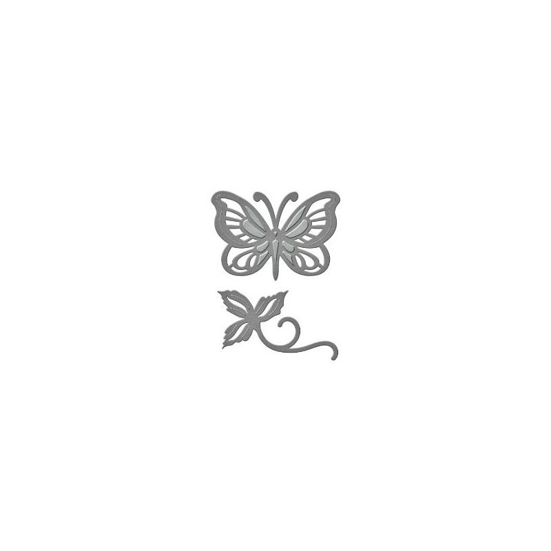 Matrice de Découpe en Métal  Papillon et feuillage Marque Spellbinders (2 pièces)
