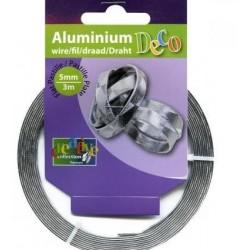 Fil aluminium  Plat Effet Graphique Argenté (5 mm x 3 m)  pour bijoux et accessoires