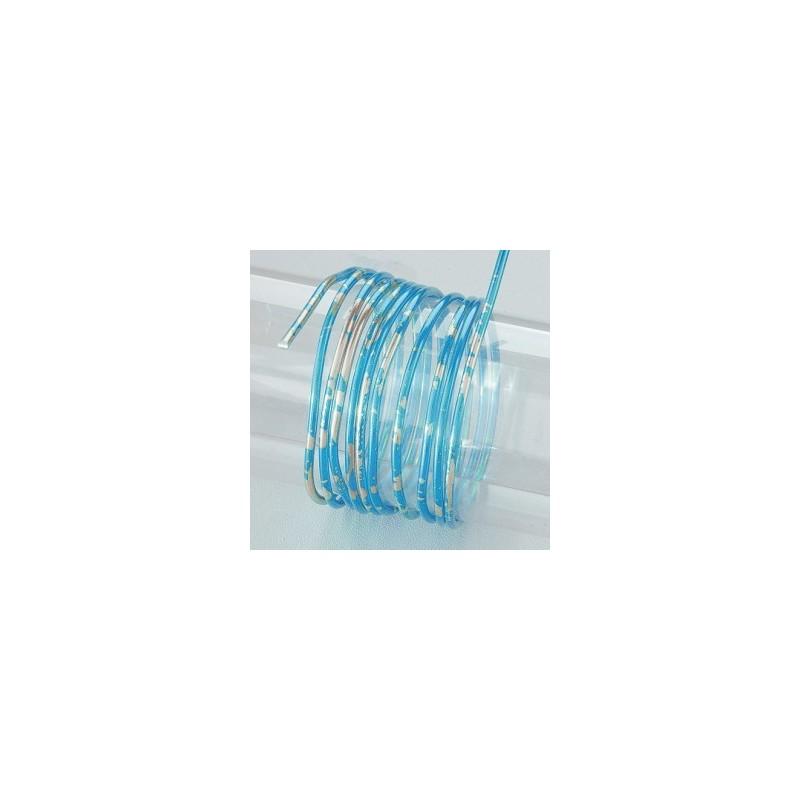 """Fil aluminium  Rond Duo de Couleur """"bleu & argenté (Ø 2 mm)  pour bijoux et accessoires"""