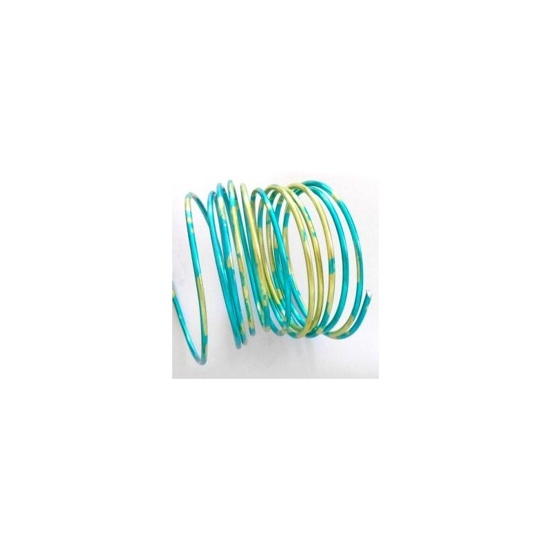 """Fil aluminium  Rond Duo de Couleur """"bleu & or (Ø 2 mm)  pour bijoux et accessoires"""