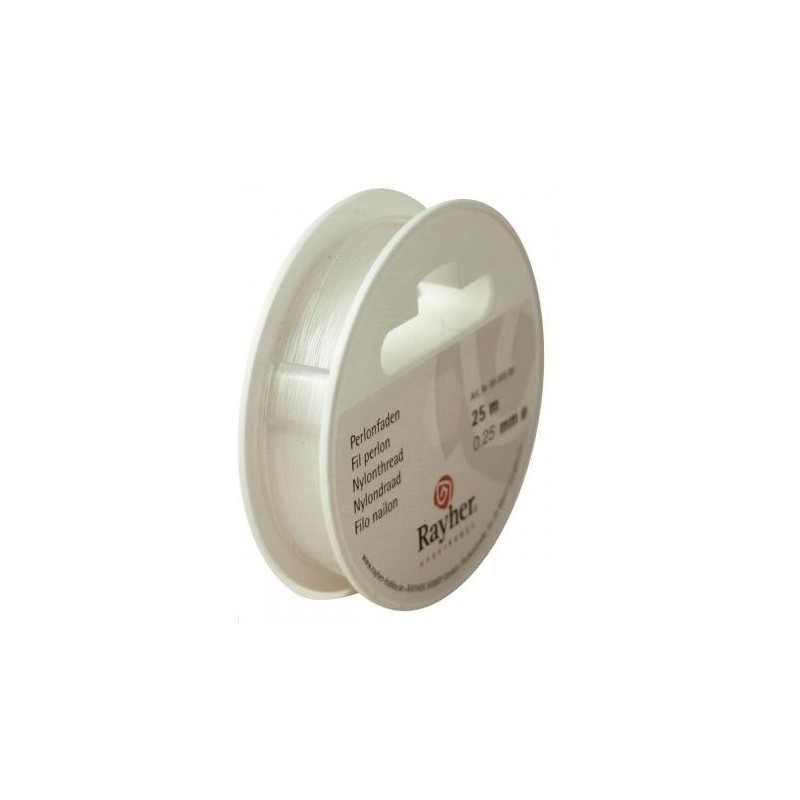 Fil Nylon Transparent pour bijoux, mobiles etc.. (Rouleau diamètre 0.25 mm, 25 m)