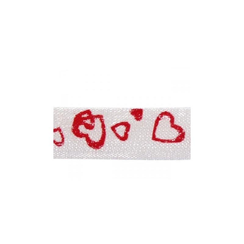 Ruban  ORGANDI imprimé Coeurs Rouges sur fond Blanc Bobine : Largeur 0.10 cm - Longueur 10 m