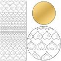 Planche stickers Peel Off  Coeurs dorés pointillés (10 cm x 23 cm)