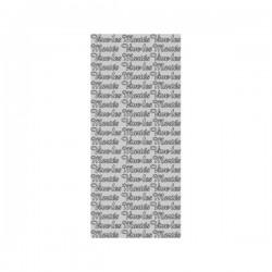 Planche stickers  Peel Off  écriture argentée Vive les Mariés  (10 cm x 23 cm)